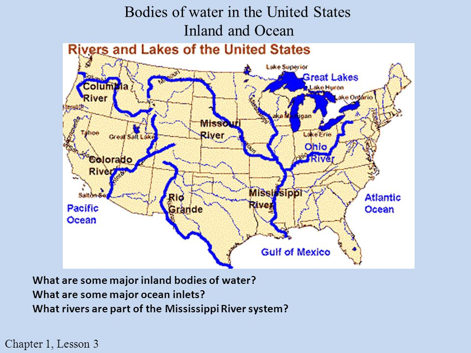 Bodies Of Water Identify And Locate Major Bodies Of Water In The - Bodies of water in us map