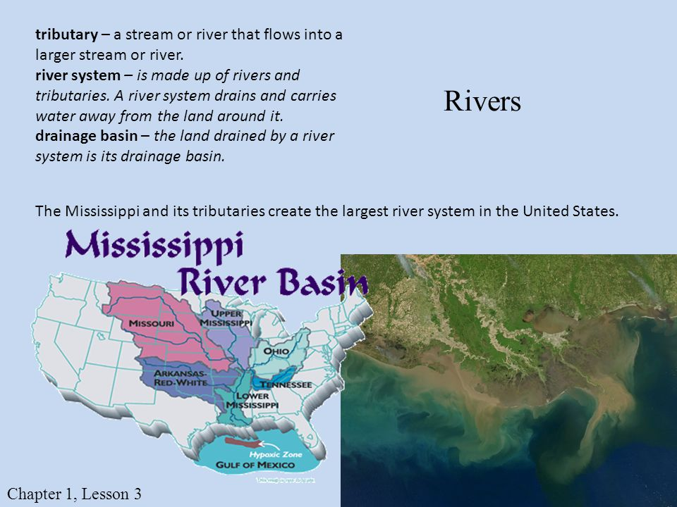 Rivers tributary – a stream or river that flows into a larger stream or river.