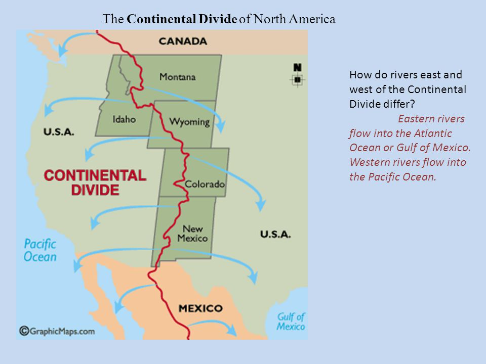 The Continental Divide of North America How do rivers east and west of the Continental Divide differ.