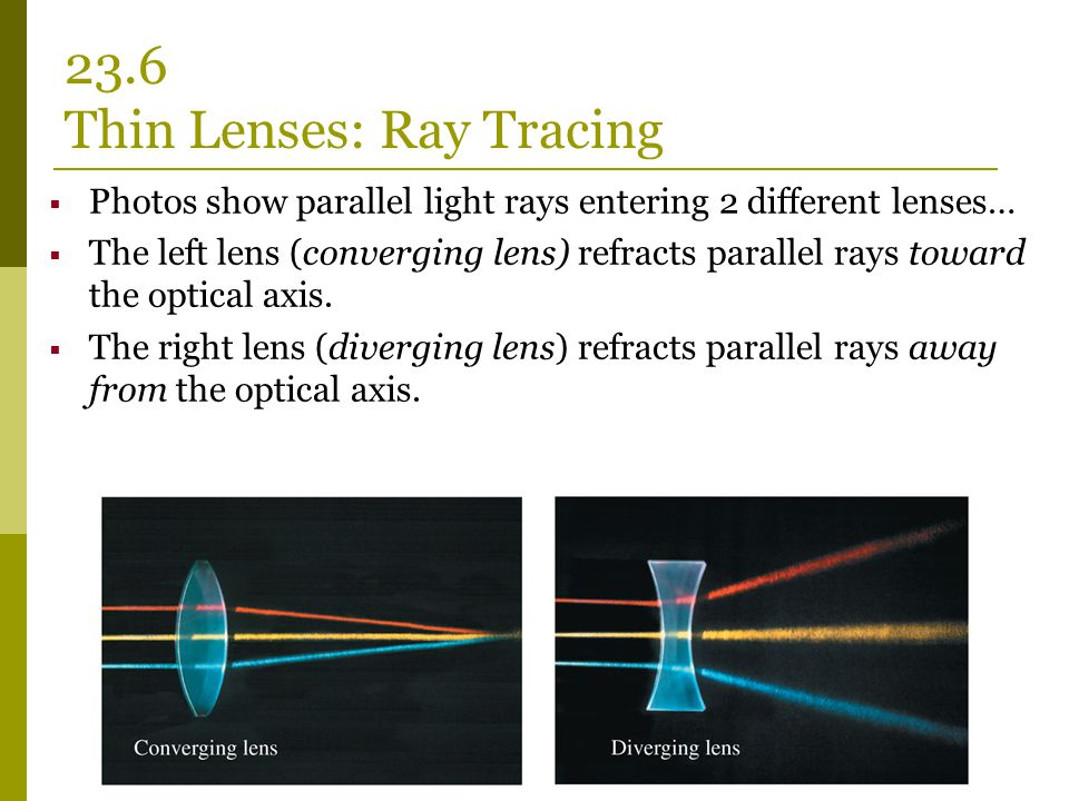  Photos show parallel light rays entering 2 different lenses…  The left lens (converging lens) refracts parallel rays toward the optical axis.  The