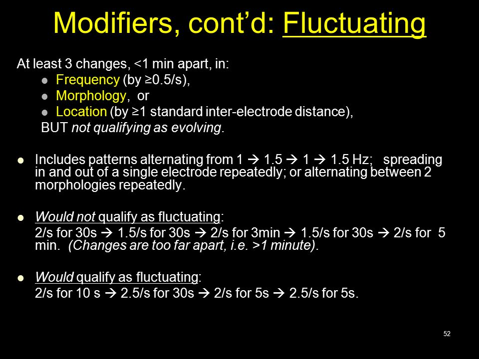 Modifiers, cont'd: Fluctuating At least 3 changes, <1 min apart, in: Frequency (by ≥0.5/s), Morphology, or Location (by ≥1 standard inter-electrode di