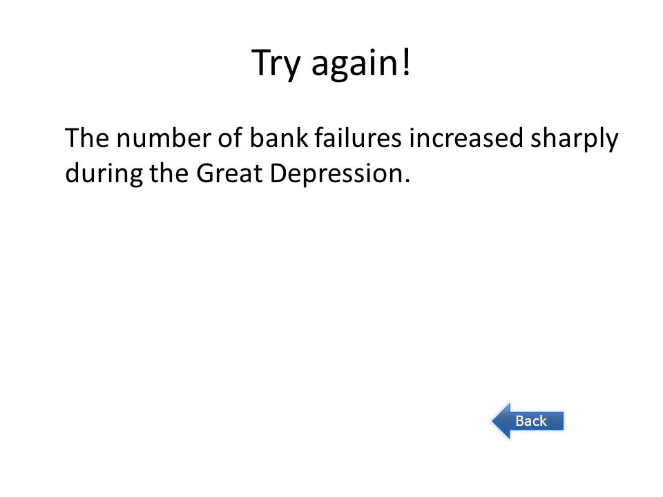 Try again! The number of bank failures increased sharply during the Great Depression. Back