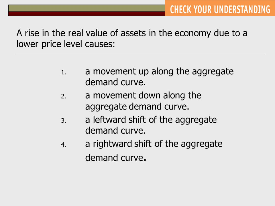 A rise in the real value of assets in the economy due to a lower price level causes: 1. a movement up along the aggregate demand curve. 2. a movement