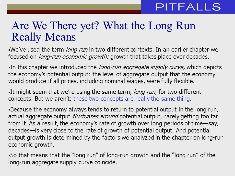  We've used the term long run in two different contexts. In an earlier chapter we focused on long-run economic growth: growth that takes place over d