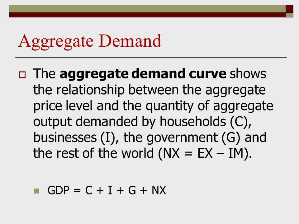 Aggregate Demand  The aggregate demand curve shows the relationship between the aggregate price level and the quantity of aggregate output demanded b
