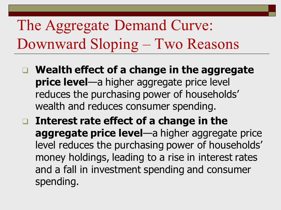 Shifts of the Aggregate Demand Curve  The aggregate demand curve shifts because of: changes in expectations wealth the stock of physical capital government policies  fiscal policy  monetary policy