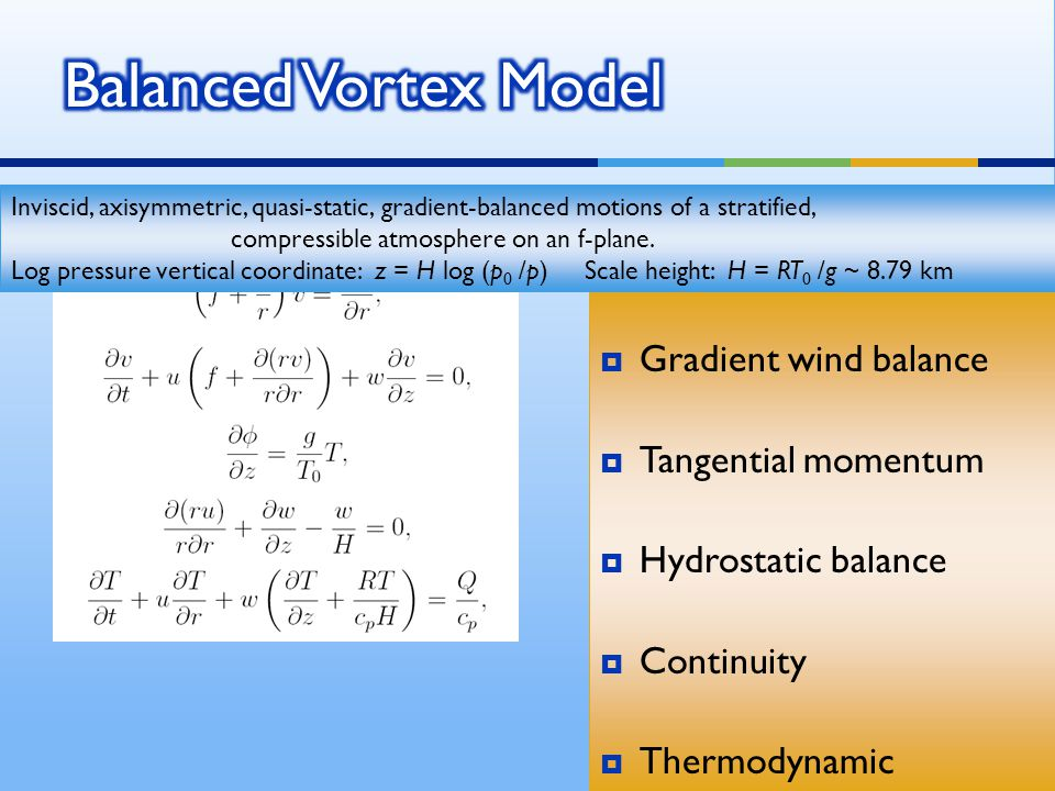  Gradient wind balance  Tangential momentum  Hydrostatic balance  Continuity  Thermodynamic  Gradient wind balance  Tangential momentum  Hydrostatic balance  Continuity  Thermodynamic Inviscid, axisymmetric, quasi-static, gradient-balanced motions of a stratified, compressible atmosphere on an f-plane.