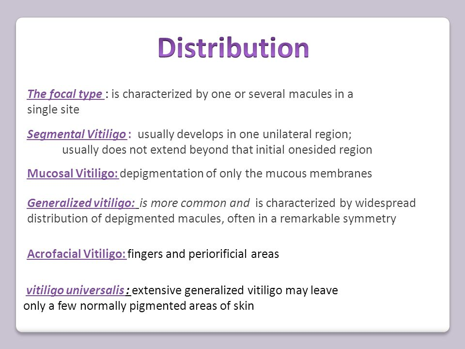Universal vitiligo Vitiliginous macules have coalesced to involve all skin sites with complete