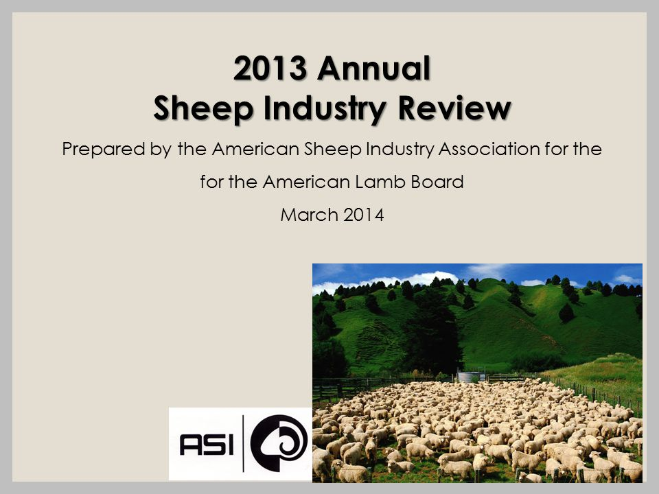 2013 Annual Sheep Industry Review Prepared by the American Sheep Industry Association for the for the American Lamb Board March 2014