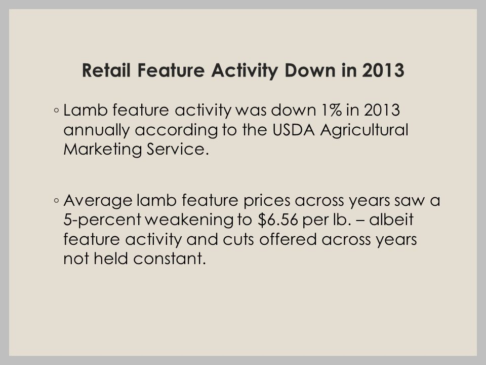Retail Feature Activity Down in 2013 ◦ Lamb feature activity was down 1% in 2013 annually according to the USDA Agricultural Marketing Service.