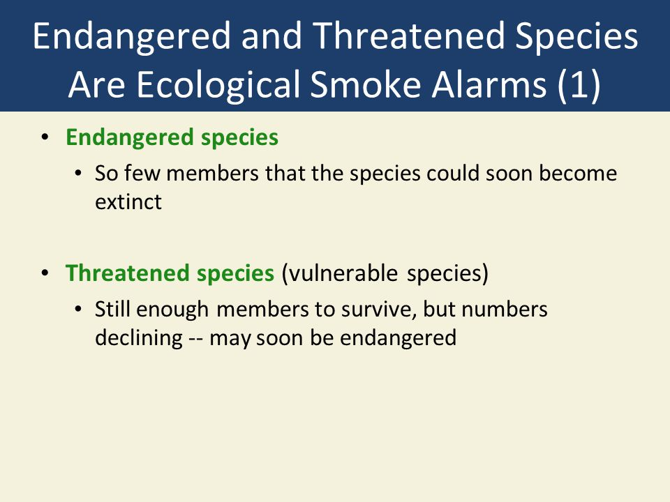 Endangered and Threatened Species Are Ecological Smoke Alarms (1) Endangered species So few members that the species could soon become extinct Threatened species (vulnerable species) Still enough members to survive, but numbers declining -- may soon be endangered