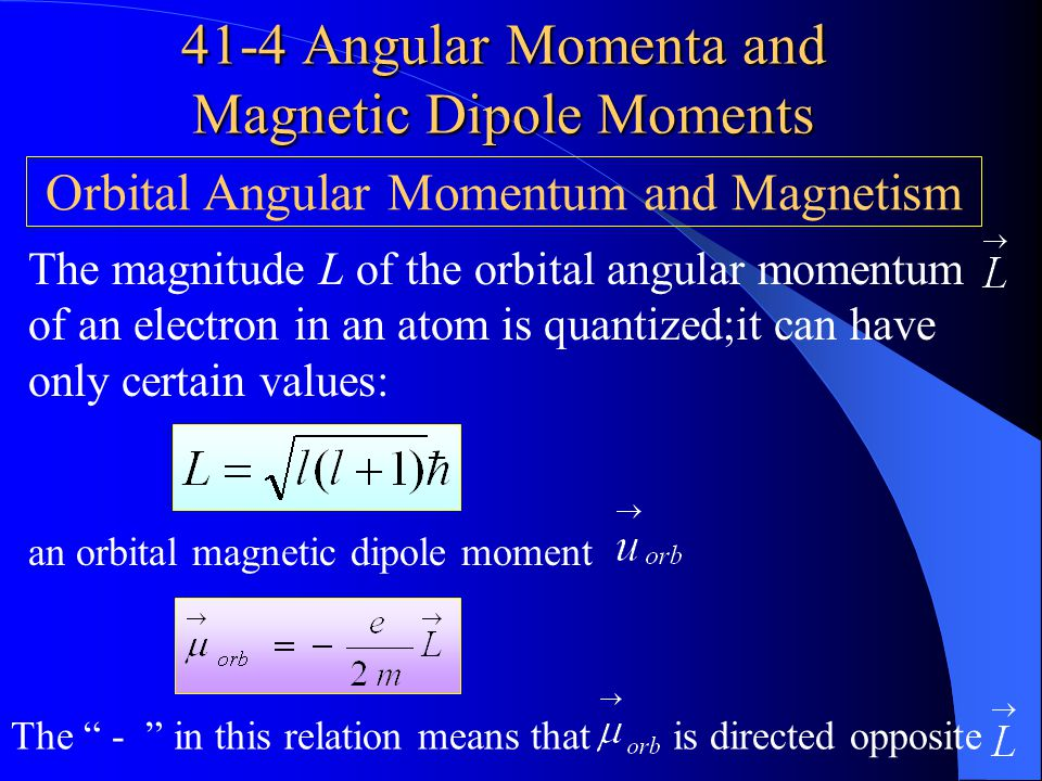In quantum physics,spin angular momentum is best thought of as a measurable intrinsic property of the election. Table 41-1,shows the four quantum numb