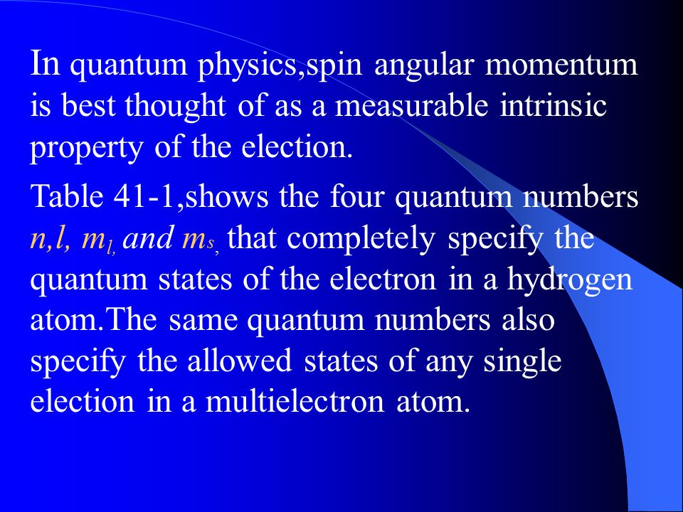 41-3 Electron Spin Quantum Number symbol Allowed Values Related to Principal n1,2,3…… Distance from the nucleus Orbital0,1,2……(n-1) Orbital angular mo
