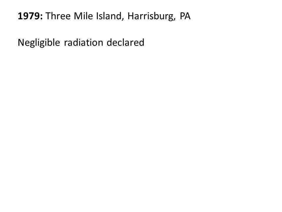 1979: Three Mile Island, Harrisburg, PA Negligible radiation declared