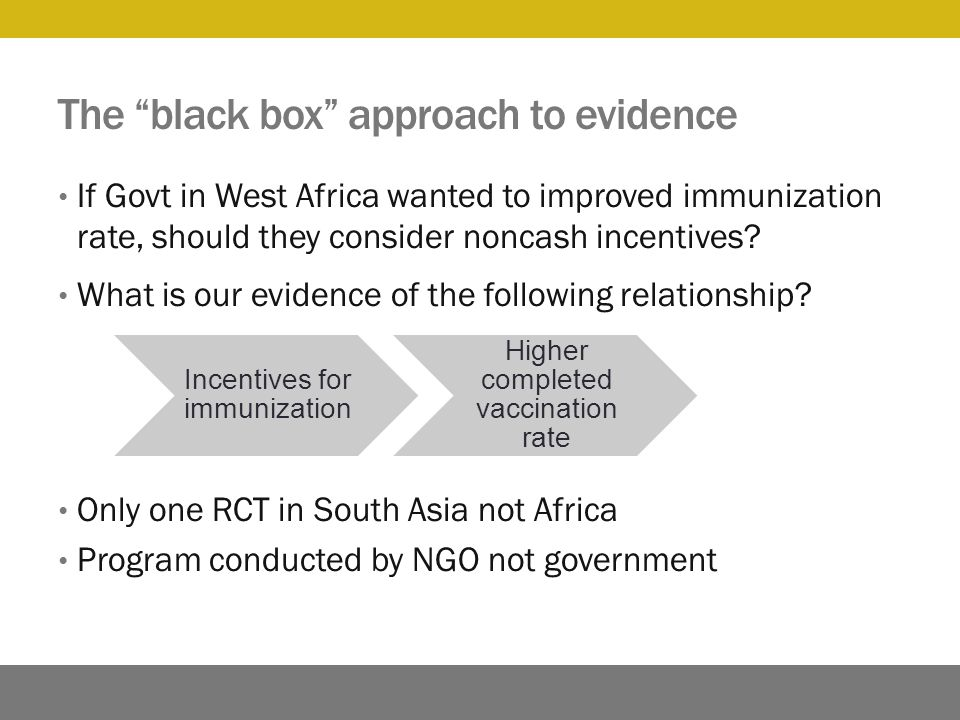 The black box approach to evidence If Govt in West Africa wanted to improved immunization rate, should they consider noncash incentives.
