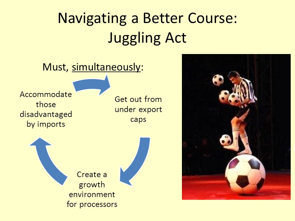 Navigating a Better Course: Juggling Act Get out from under export caps Create a growth environment for processors Accommodate those disadvantaged by