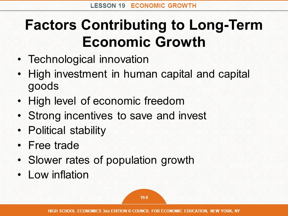 LESSON 19 ECONOMIC GROWTH 19-8 HIGH SCHOOL ECONOMICS 3 RD EDITION © COUNCIL FOR ECONOMIC EDUCATION, NEW YORK, NY Factors Contributing to Long-Term Eco