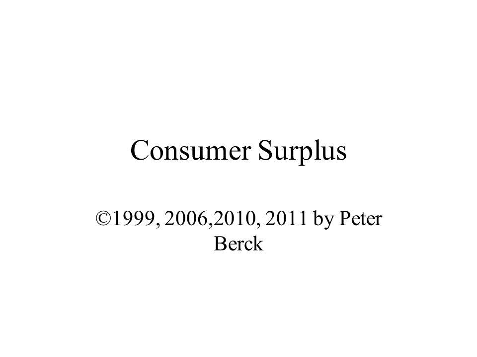 Consumer Surplus ©1999, 2006,2010, 2011 by Peter Berck
