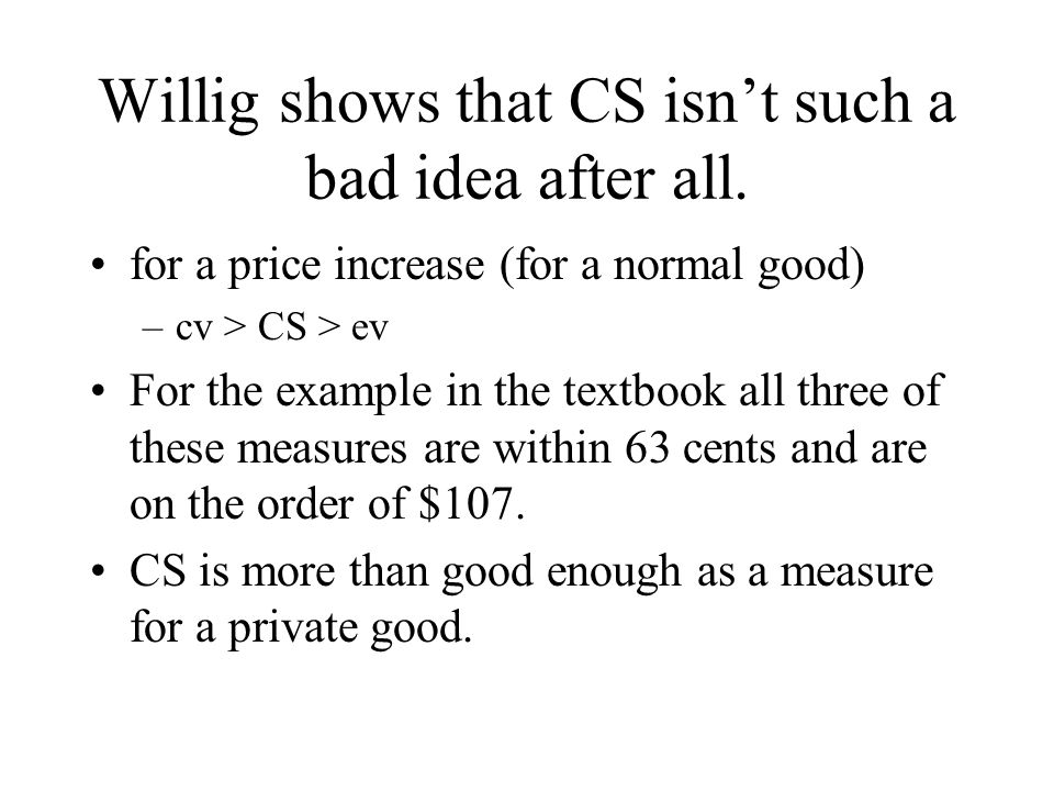 Willig shows that CS isn't such a bad idea after all.