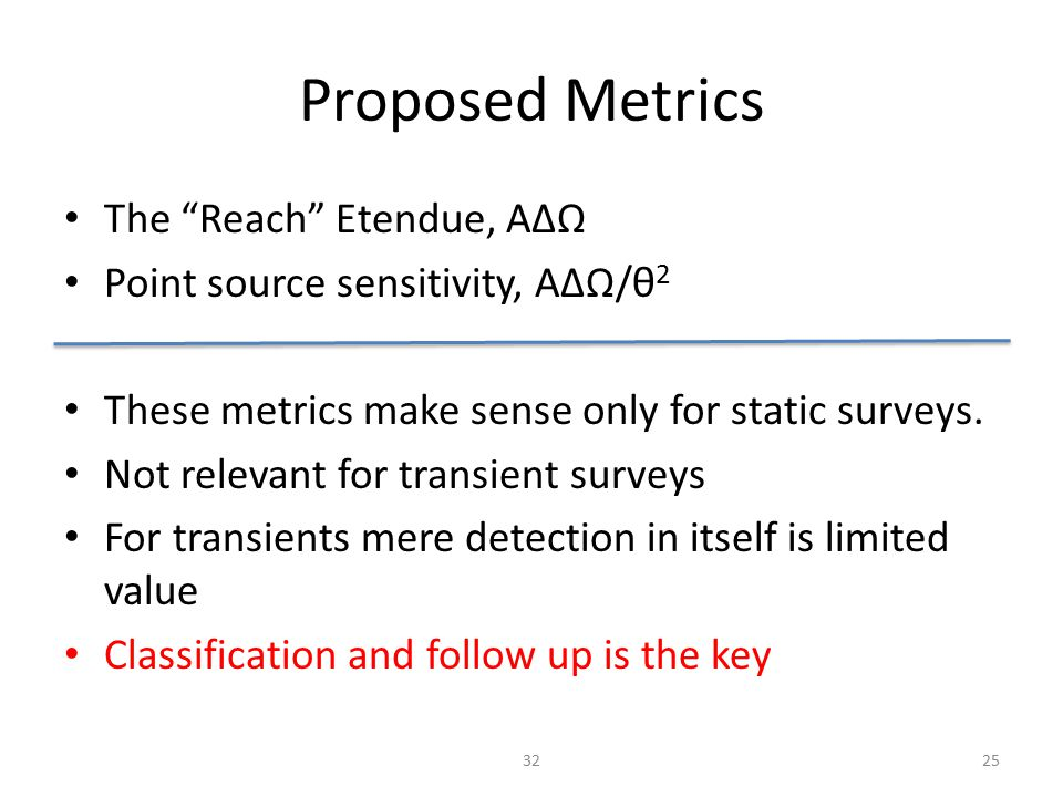 Proposed Metrics The Reach Etendue, AΔΩ Point source sensitivity, AΔΩ/θ 2 These metrics make sense only for static surveys.