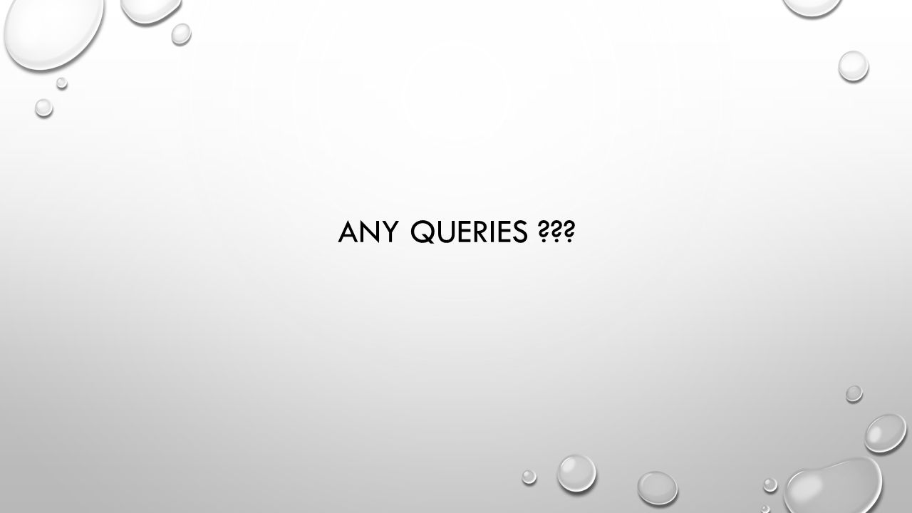 ANY QUERIES ???