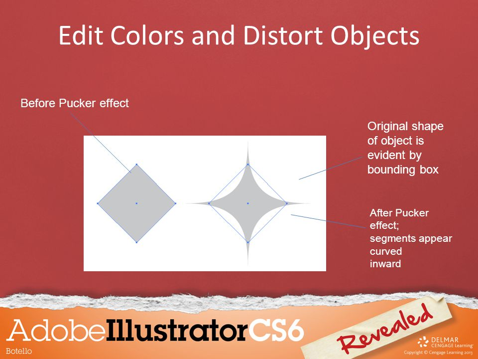 Edit Colors and Distort Objects Before Pucker effect After Pucker effect; segments appear curved inward Original shape of object is evident by bounding box
