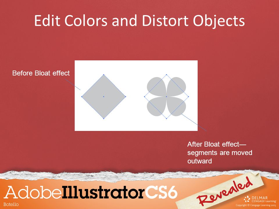 Edit Colors and Distort Objects Before Bloat effect After Bloat effect— segments are moved outward