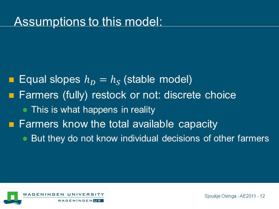 Assumptions to this model: Sjoukje Osinga - AE2011 - 12