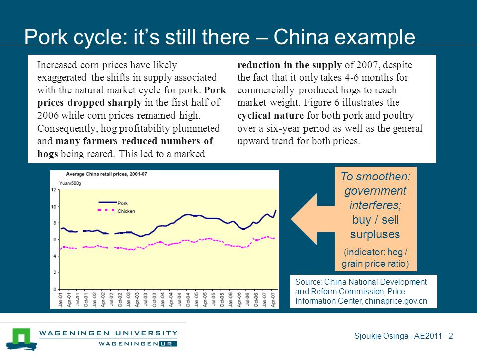 Pork cycle: it's still there – China example Increased corn prices have likely exaggerated the shifts in supply associated with the natural market cycle for pork.