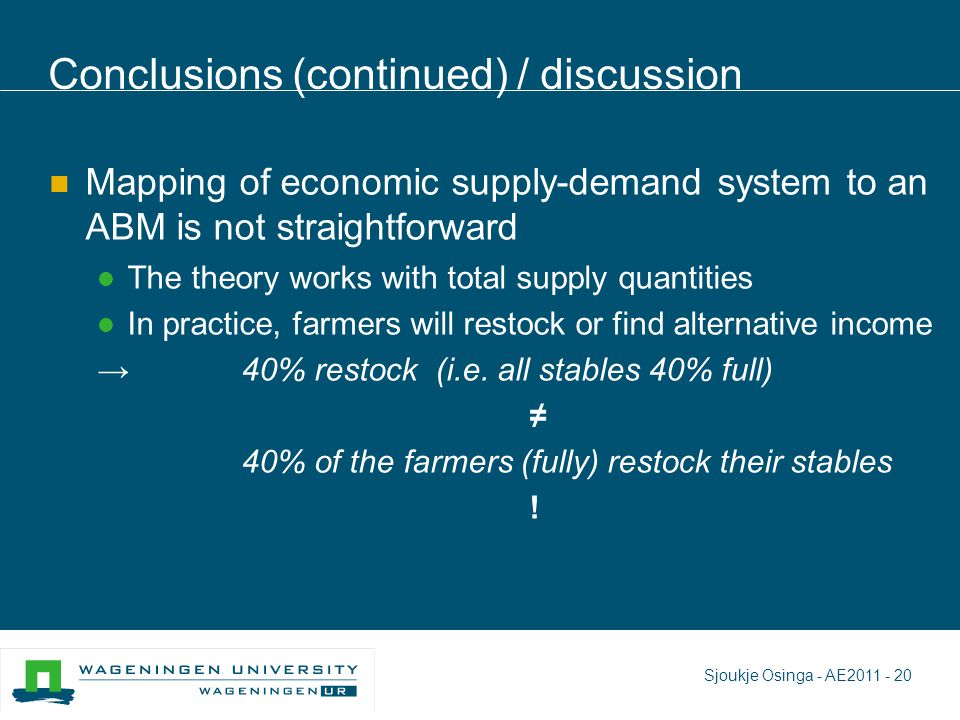 Conclusions (continued) / discussion Mapping of economic supply-demand system to an ABM is not straightforward The theory works with total supply quantities In practice, farmers will restock or find alternative income → 40% restock (i.e.