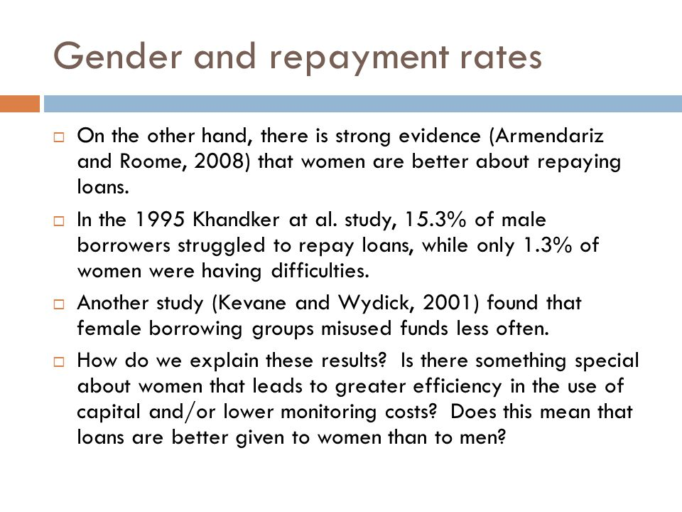 Gender and Repayment Rates  Women seem to take less risks.