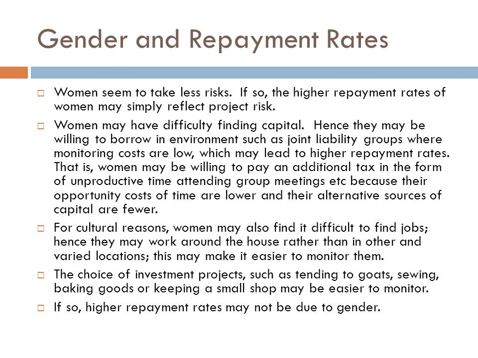 Gender Differences in Rates of Return  Although repayment rates are lower, there is some evidence that average returns to investments by men are higher.