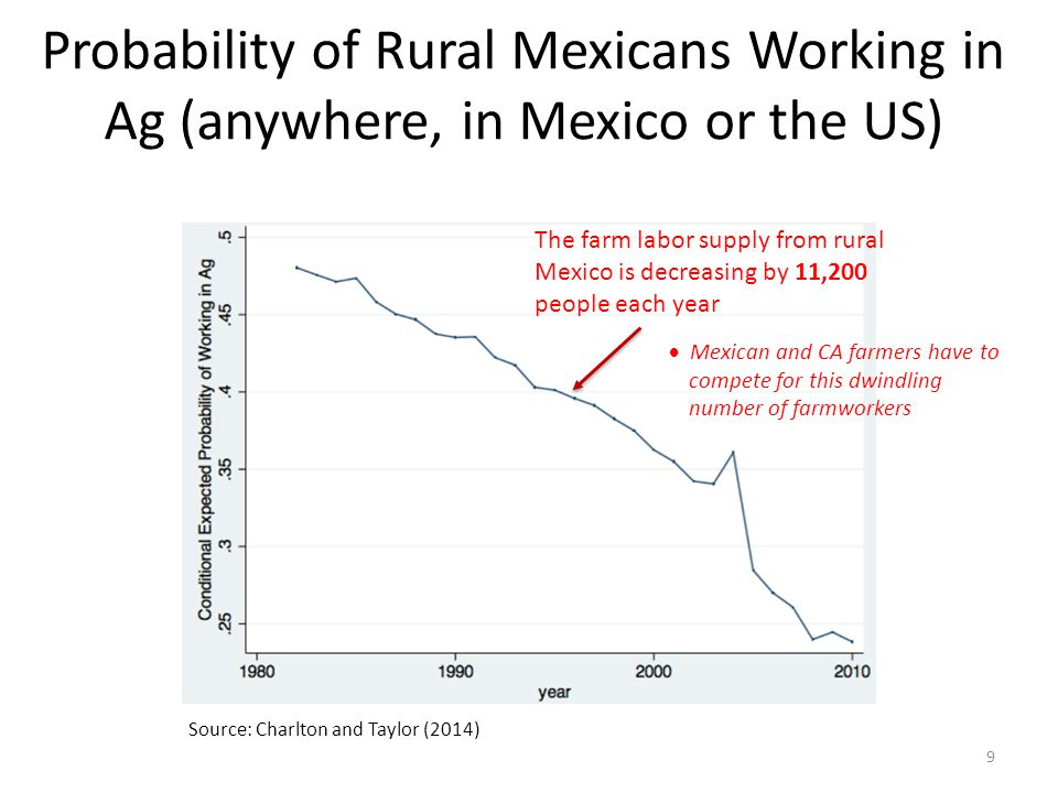 Probability of Rural Mexicans Working in Ag (anywhere, in Mexico or the US) 9 Source: Charlton and Taylor (2014) The farm labor supply from rural Mexico is decreasing by 11,200 people each year  Mexican and CA farmers have to compete for this dwindling number of farmworkers