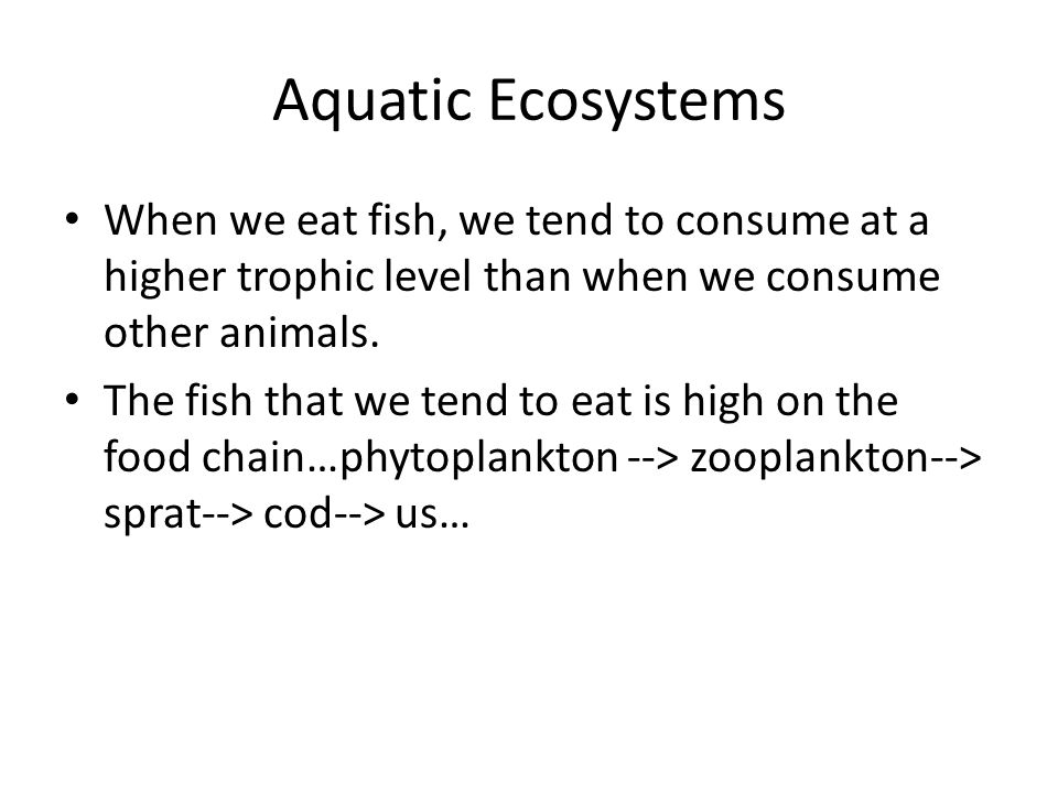 Aquatic Ecosystems When we eat fish, we tend to consume at a higher trophic level than when we consume other animals. The fish that we tend to eat is
