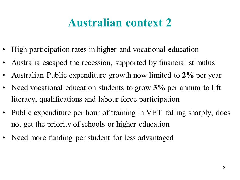 VET diploma students and higher education students About 50% of VET diploma+ students aged up to 24 About 25% of older VET diploma students are full-time Many younger ones progress to higher education 75% of university students full time and 88% on HECS-HELP VET students on average older than higher education students VET diploma students somewhat lower social background Only rough data on VET so far but maybe 25% of all diploma full and part-time students took up HELP this year in Victoria 14