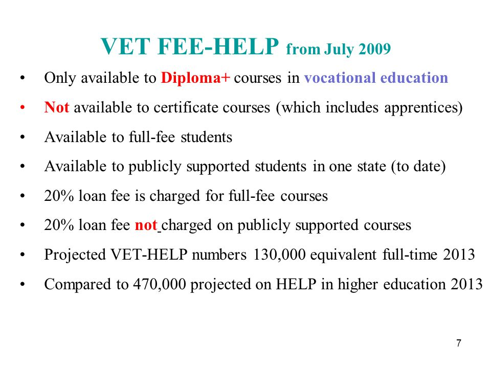 VET students, public system only, Australia 2009 000 8 Diploma or higher20012% Certificate IV21913% Certificate III52631% Certificate II29617% Certificate I905% Other students37722% Total 1,707100%