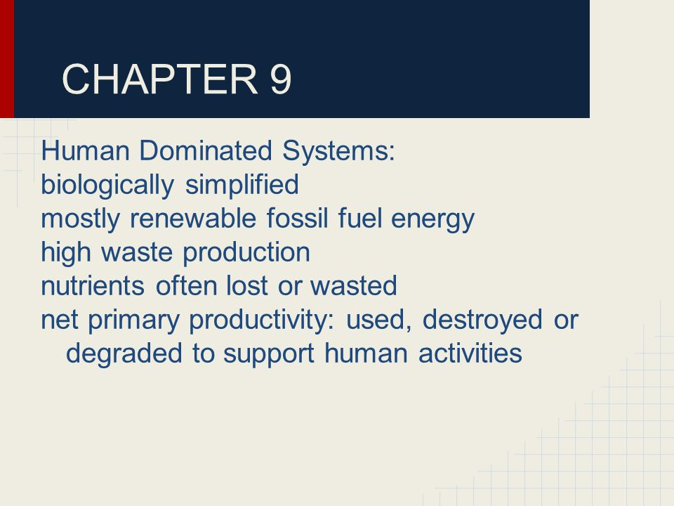 CHAPTER 9 Human Dominated Systems: biologically simplified mostly renewable fossil fuel energy high waste production nutrients often lost or wasted net primary productivity: used, destroyed or degraded to support human activities
