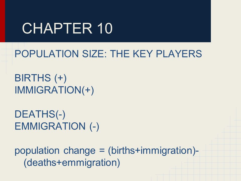 CHAPTER 10 POPULATION SIZE: THE KEY PLAYERS BIRTHS (+) IMMIGRATION(+) DEATHS(-) EMMIGRATION (-) population change = (births+immigration)- (deaths+emmigration)