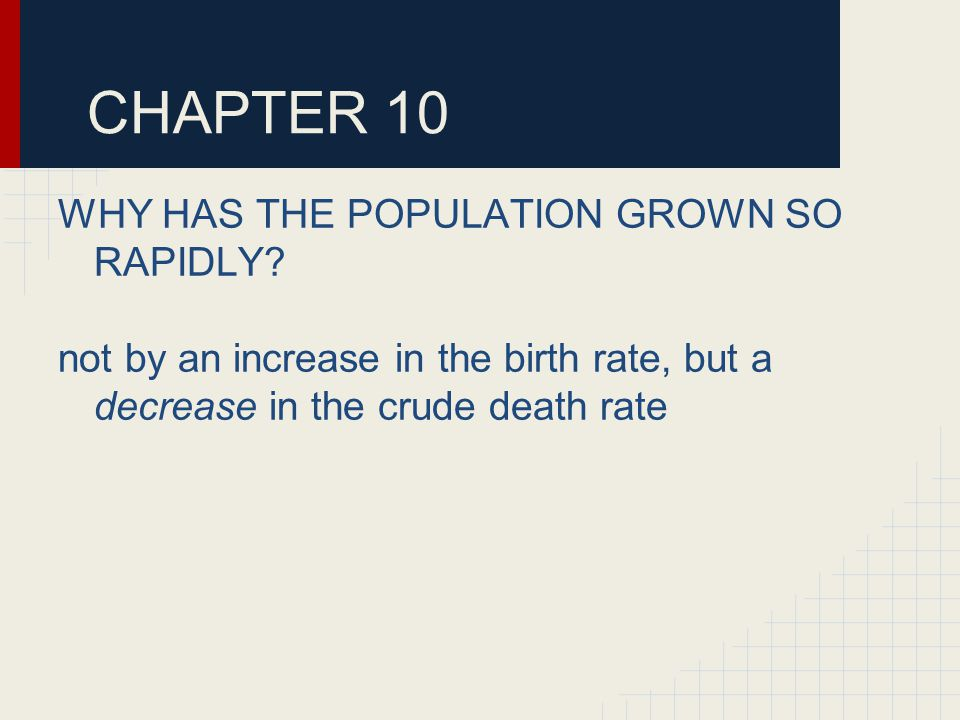 CHAPTER 10 WHY HAS THE POPULATION GROWN SO RAPIDLY.
