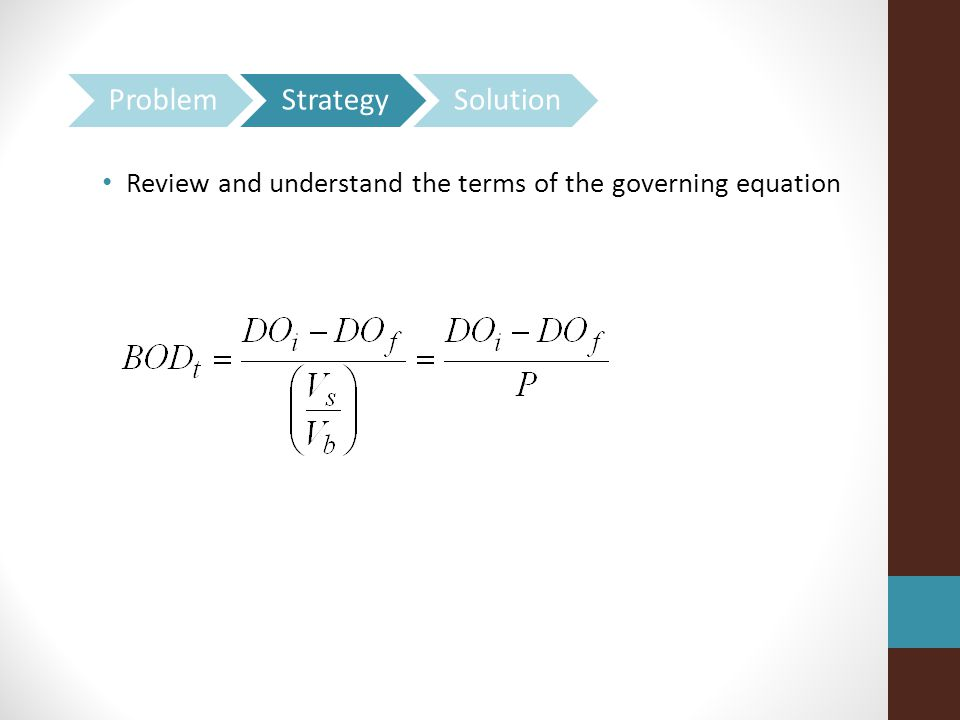 Review and understand the terms of the governing equation