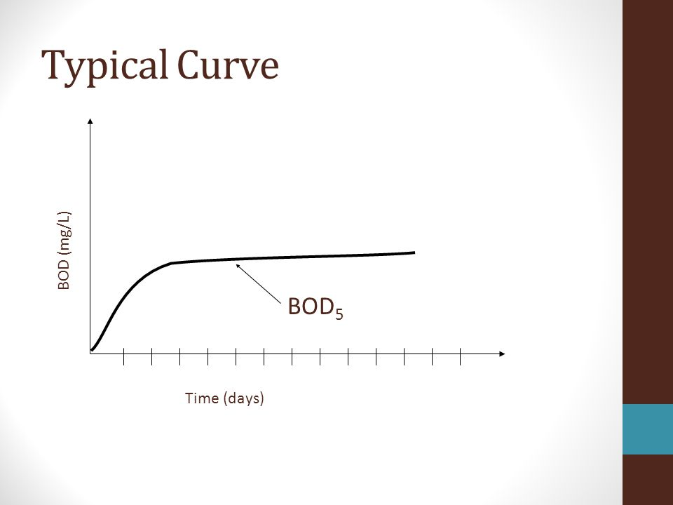 Time (days) BOD (mg/L) BOD 5 Typical Curve