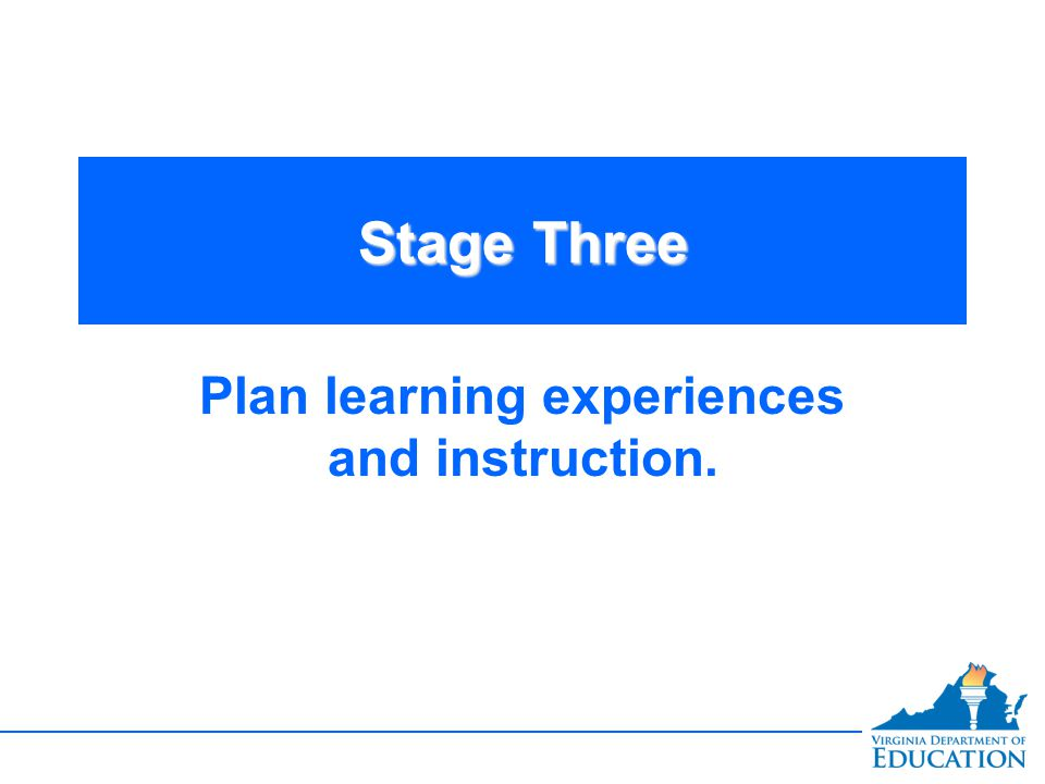 Stage Three Plan learning experiences and instruction.
