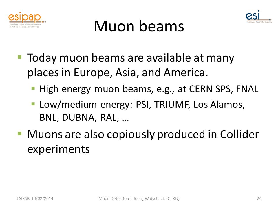Muon beams  Today muon beams are available at many places in Europe, Asia, and America.