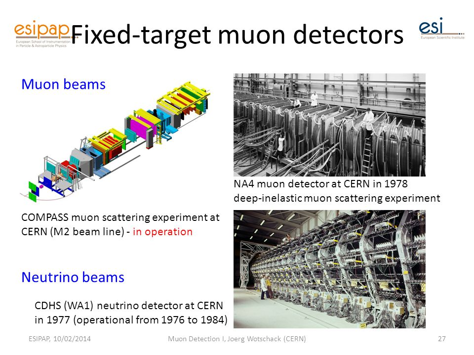 Fixed-target muon detectors ESIPAP, 10/02/2014Muon Detection I, Joerg Wotschack (CERN)27 COMPASS muon scattering experiment at CERN (M2 beam line) - in operation CDHS (WA1) neutrino detector at CERN in 1977 (operational from 1976 to 1984) NA4 muon detector at CERN in 1978 deep-inelastic muon scattering experiment Muon beams Neutrino beams