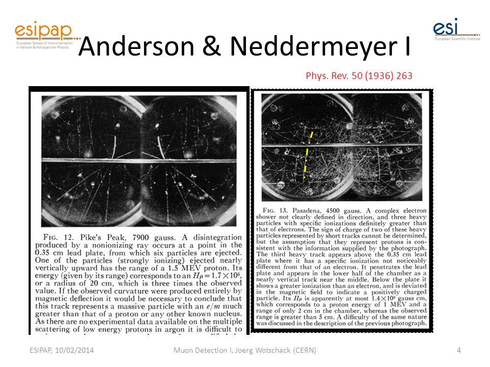 Anderson & Neddermeyer I ESIPAP, 10/02/2014Muon Detection I, Joerg Wotschack (CERN)4 Phys.