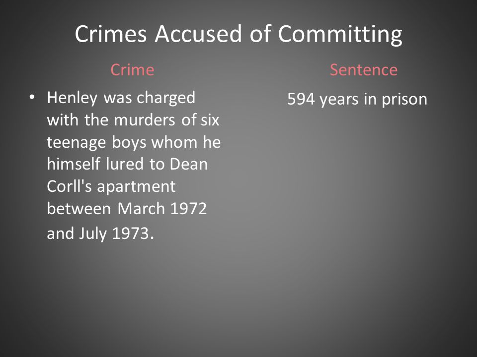 Most Recent Crime It is unknown how many boys Henley himself assisted in murdering.