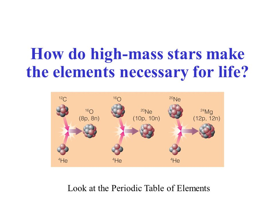 How do high-mass stars make the elements necessary for life? Look at the Periodic Table of Elements