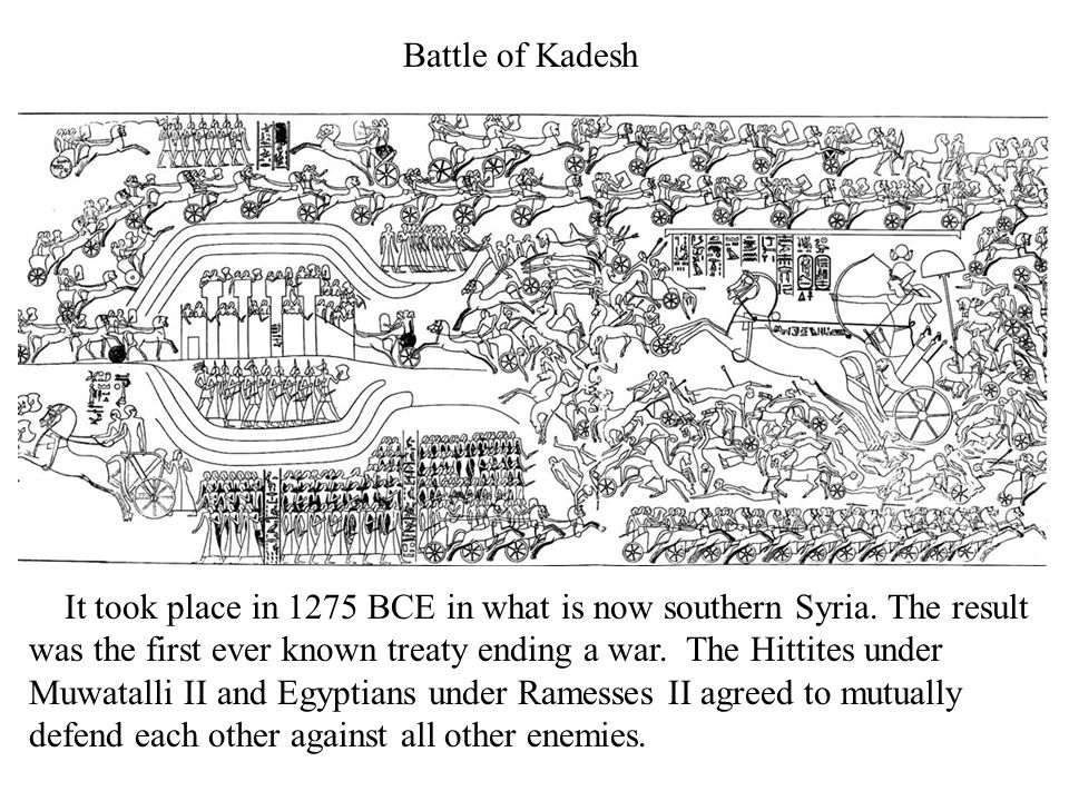 Battle of Kadesh It took place in 1275 BCE in what is now southern Syria.