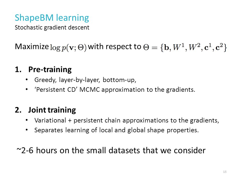 ShapeBM learning Maximize with respect to 1.Pre-training Greedy, layer-by-layer, bottom-up, 'Persistent CD' MCMC approximation to the gradients.