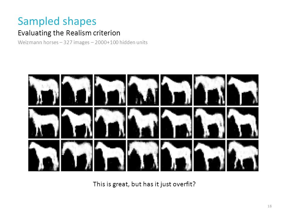 Weizmann horses – 327 images – 2000+100 hidden units Sampled shapes 18 Evaluating the Realism criterion Weizmann horses – 327 images This is great, but has it just overfit
